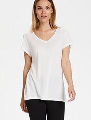 Kaffe - Anna V-Neck T-Shirt - t-shirts - optical white - 4