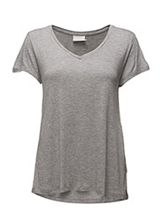 Anna V-Neck T-Shirt- MIN 16 - LIGHT GREY MELANGE