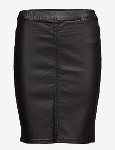 Ada coated skirt - midinederdele - black deep