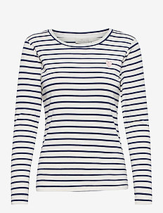 Liddy T-Shirt- MIN 16 pcs. - tops met lange mouwen - chalk / 52737 midnight marine