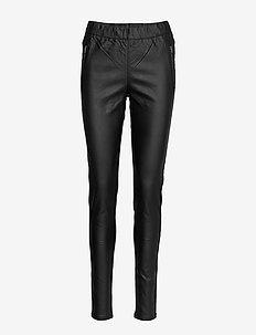 Ada Coated Zip Jeggings - spodnie skórzane - black deep