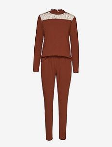 KAninna Fabric LS Jumpsuit - CHERRY MAHOGANY