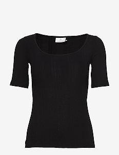 KAmaria 1/2 sl T-shirt - basic t-shirts - black deep