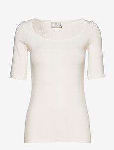 KAmaria 1/2 sl T-shirt - basic t-shirts - chalk