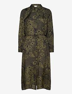 KAmonna Shirt Dress - skjortklänningar - grape leaf -flower/tiger aop