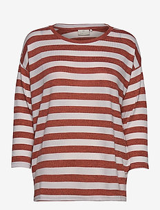 KAbeate T-shirt - randiga t-shirts - chili melange/chalk stripe