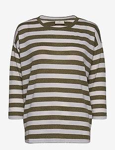 KAbeate T-shirt - randiga t-shirts - grape leaf / tapioca stripe