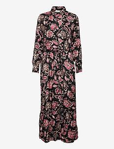 KAquinna Shirt Dress - skjortekjoler - black / pink flower print