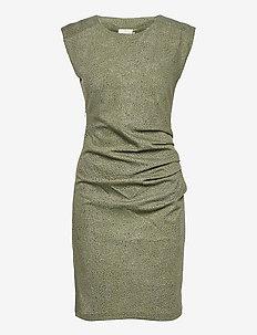 KAjudi India Dress - bodycon-kjoler - olivine - leafs print