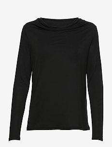 KAclara Jersey Blouse - langærmede toppe - black deep