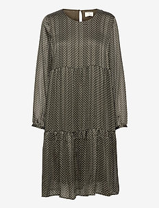 KAagnes Dress - alledaagse jurken - grape leaf/chalk dot w/ gold