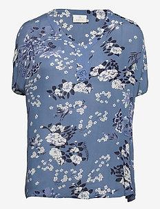 KAekua Amber Blouse - kortærmede bluser - blue tone flower print