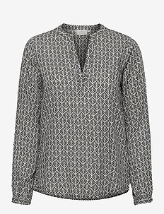KAfana Tilly Blouse - langærmede bluser - black / chalk fan print
