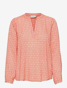 KAfana Tilly Blouse - langærmede bluser - coral / chalk fan print