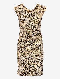KAesta India Dress SL. - robes d'été - black / yellow leaf