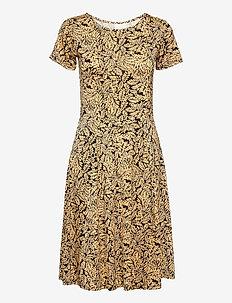 KAedmonda Dress SS - sommerkjoler - black / yellow leaf