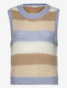 KAmerala Knit Vest - strikveste - chambray blue / beige stripe