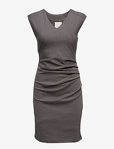 India V-Neck Dress - midimekot - dark grey melange