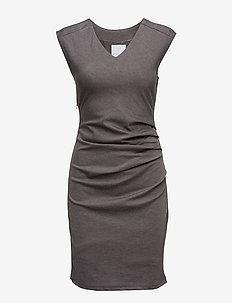 India V-Neck Dress - hverdagskjoler - dark grey melange