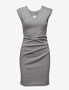India V-Neck Dress - hverdagskjoler - grey melange