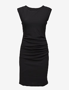 India Round-Neck Dress - midi kjoler - black deep