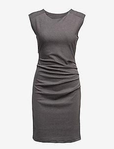India Round-Neck Dress - midi kjoler - dark grey melange