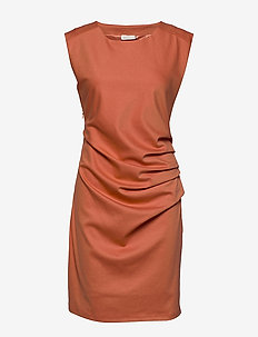 India Round-Neck Dress - midi dresses - dull orange