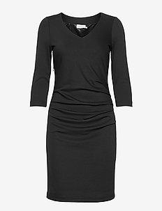 India V-Neck 3/4 SL - short dresses - black deep