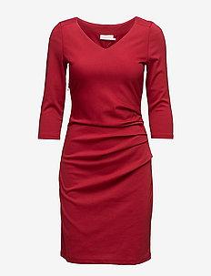 India V-Neck 3/4 SL - short dresses - haute red