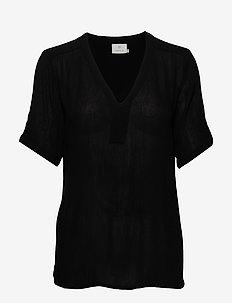Amber SS blouse - short-sleeved blouses - black deep
