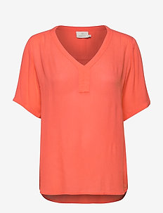 Amber SS blouse - bluzki krotkim rekawem - living coral