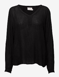 Amber L/S Blouse- MIN 2 - langærmede toppe - black