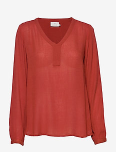 Amber L/S Blouse- MIN 2 - long-sleeved tops - ketchup