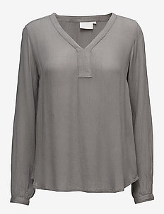 Amber L/S Blouse- MIN 2 - long-sleeved tops - smoked pearl