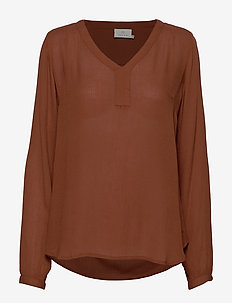 Amber L/S Blouse- MIN 2 - long-sleeved tops - tortoise shell
