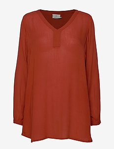 Amber V-Neck Tunic - long sleeved blouses - ketchup