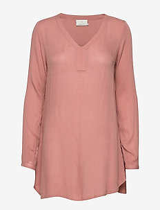 Amber V-Neck Tunic - langärmlige blusen - old rose