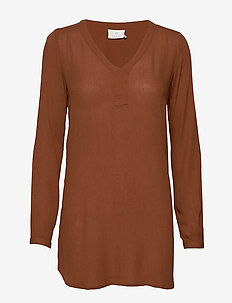 Amber V-Neck Tunic - long sleeved blouses - tortoise shell