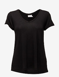Anna V-Neck T-Shirt - t-shirts - black deep
