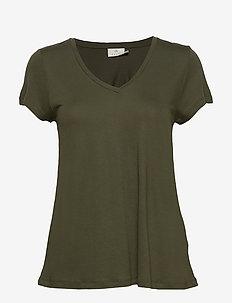 Anna V-Neck T-Shirt - basic t-shirts - grape leaf