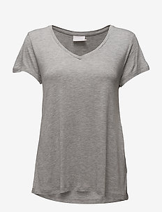 Anna V-Neck T-Shirt - basic t-shirts - light grey melange