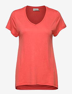 Anna V-Neck T-Shirt - basic t-shirts - living coral