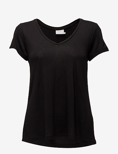 Anna V-Neck T-Shirt - t-shirt & tops - black deep