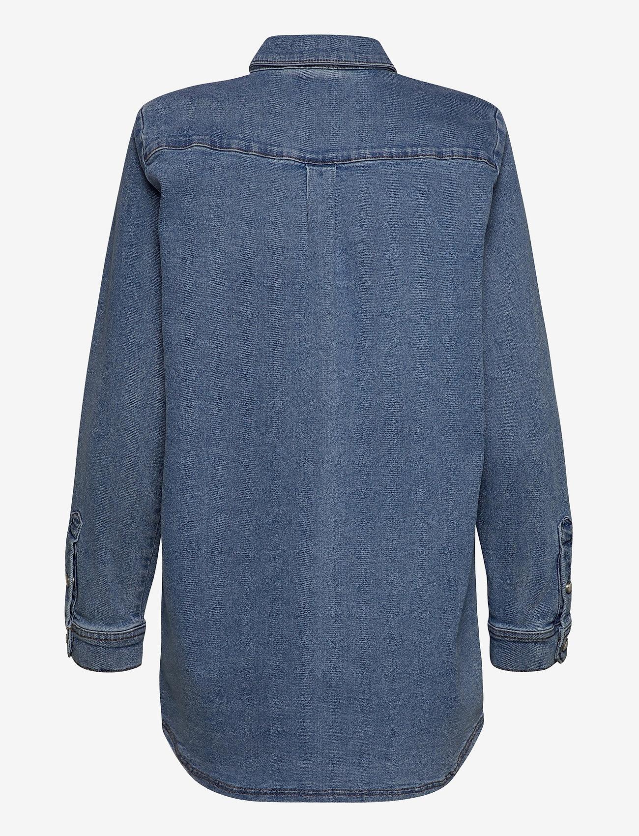 Karen By Simonsen - CailyKB Denim Shirt - jeansblouses - medium blue denim - 1
