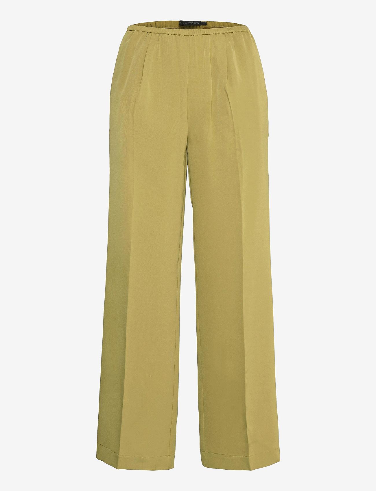 Karen By Simonsen - CalesiKB Wide Pants - bukser med brede ben - green moss - 0