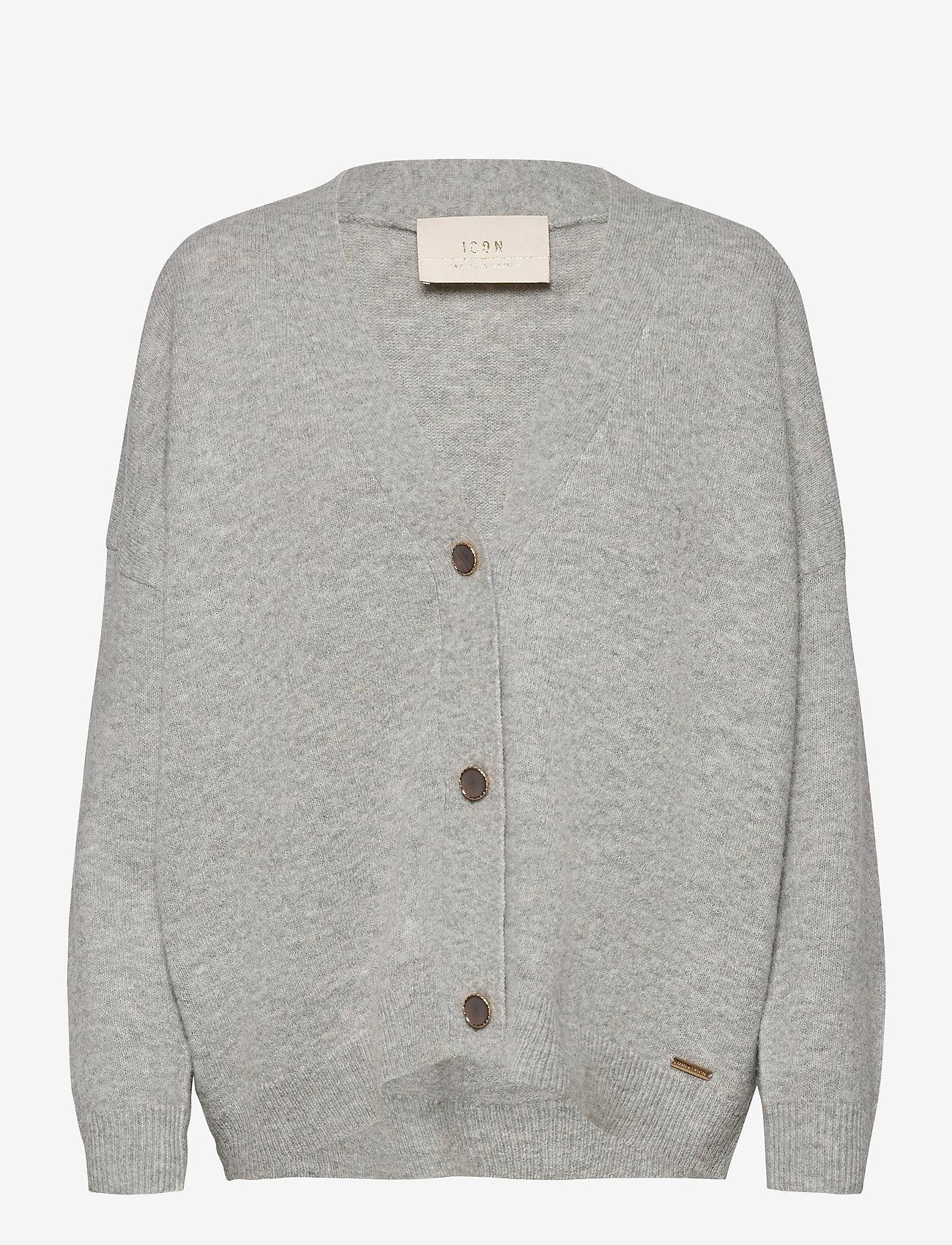 Karen By Simonsen - NoraKB Knit Cardigan - cardigans - frost gray melange - 1