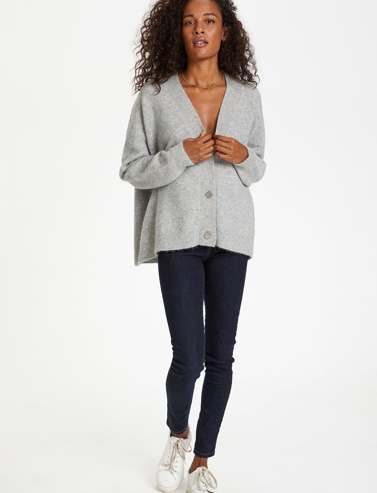 Karen By Simonsen - NoraKB Knit Cardigan - cardigans - frost gray melange - 4