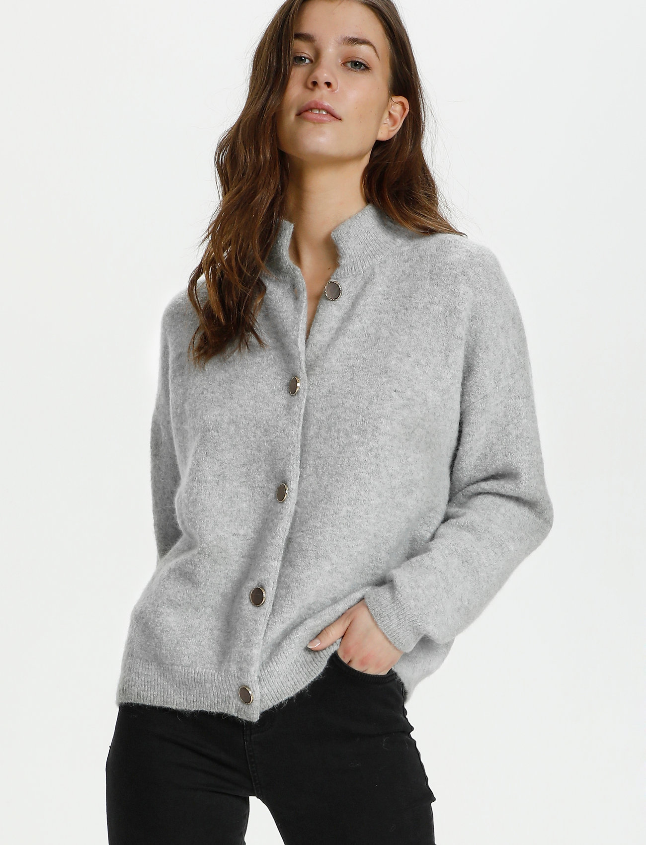 Karen By Simonsen - NoraKB Turtleneck Cardigan - cardigans - frost gray melange - 0