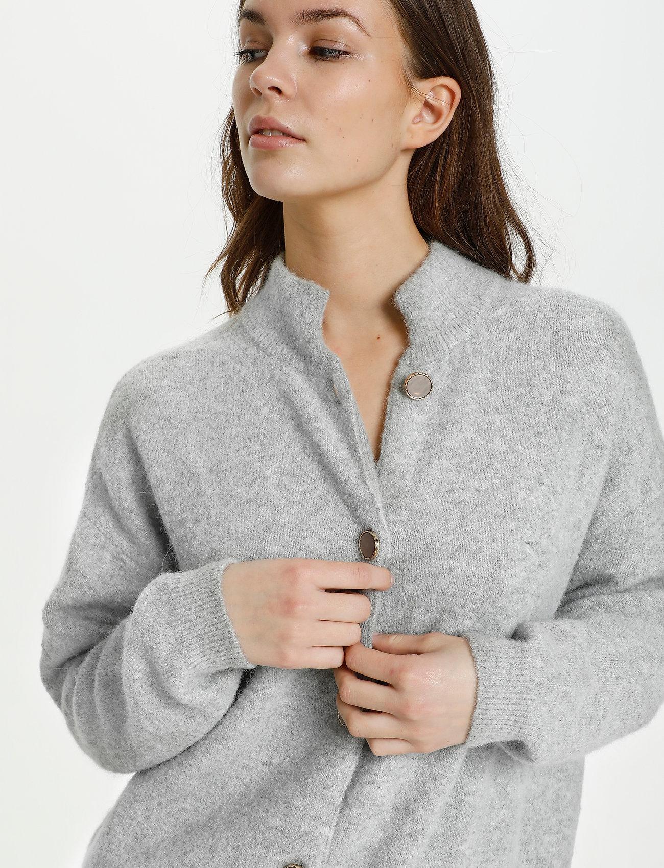 Karen By Simonsen - NoraKB Turtleneck Cardigan - cardigans - frost gray melange - 5
