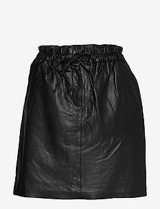 EmmyKB Leather Skirt - METEORITE BLACK